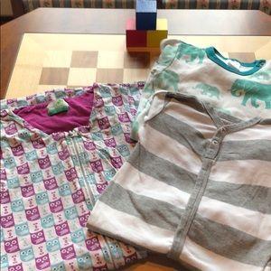 ORGANIC Sleep Sack & Two Pairs 6-12m Pajamas